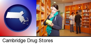 Cambridge, Massachusetts - a drug store pharmacist and customers