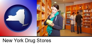 New York, New York - a drug store pharmacist and customers