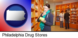 a drug store pharmacist and customers in Philadelphia, PA