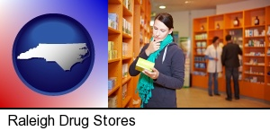 Raleigh, North Carolina - a drug store pharmacist and customers